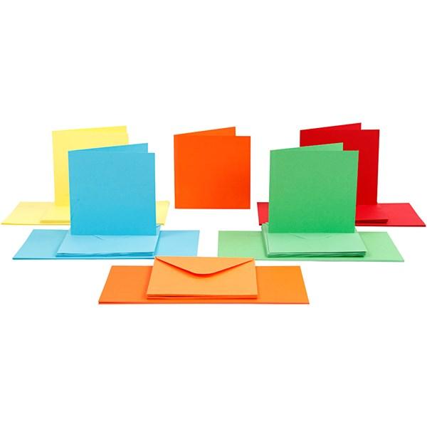 Kort och kuvert, kortstl. 15x15 cm, kuvertstl. 16x16 cm, mixade färger, 50set