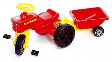 Tråtraktor med tilhenger, rød, Plasto