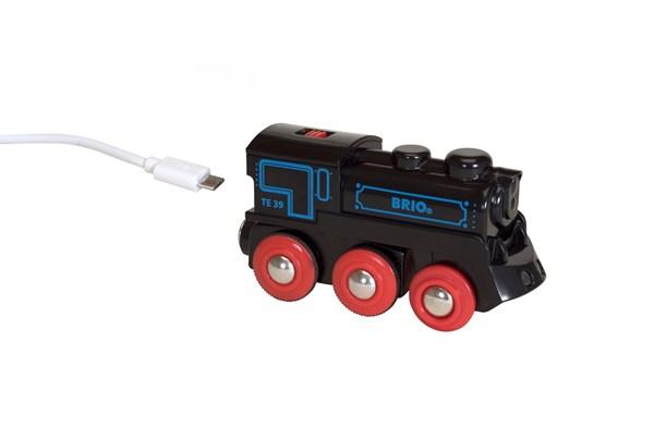 Oppladbart lokomotiv med mini-USB-kabel, BRIO Trejernbane