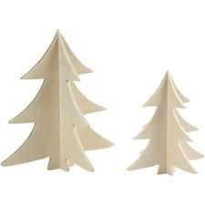 3D juletre, H: 13+18 cm, kryssfiner, 2stk.