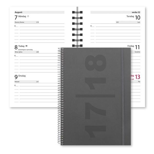 Terminskalender 2017-2018 Burde Compact Velvet grå FSC Mix