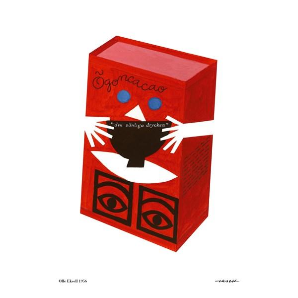 Olle Eksell Red Box Poster 50 X 70 Cm Röd Valkoinen Julisteet