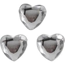 Rhinsten, sølv, str. 10 mm, hjerter, 150stk.