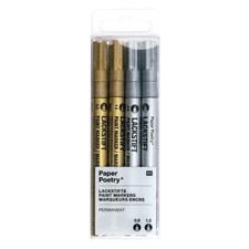 Märkpenna, Guld och Silver 4-pack 0,8 / 1,2 mm