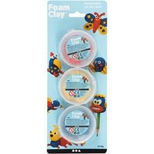 Foam Clay® , blå, gul, rød, 3x14g