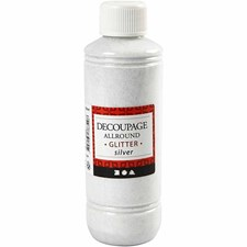 Decoupage Allround, hopea, kimalle, 250ml