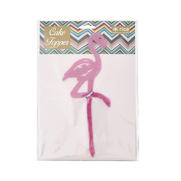 Rice Flamingo Tårtdekoration Glitter (rosa) - kak- & tårttillbehör