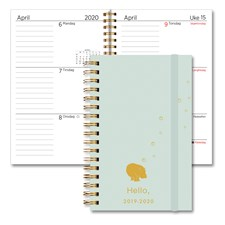 Studentkalender 19/20 GRIEG A7 Spiral Grønn Hippo
