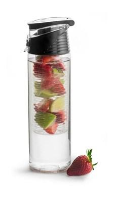 Sagaform Fresh Flaska Med Fruktkolv Låsbar Svart