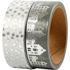 Maskin Tape, B: 15 mm, sølv, hus og prikker - folie, 2x4m