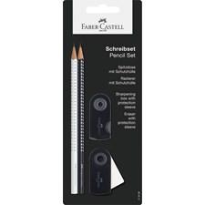Sparkle Set blyant + viskelær + blyantkvesser Svart/Hvit