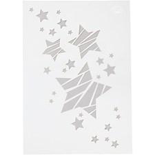 Stencil, A4 21x30 cm, stjerner, 1stk.