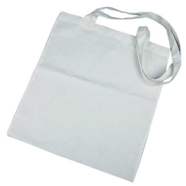 Mulepose med lang hank, str. 38x42 cm,  145 g/m2, hvit, 1stk.