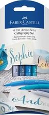 Sivellin kynä kalligrafia Faber-Castell 4-pakkaus sinisiä nyansseja