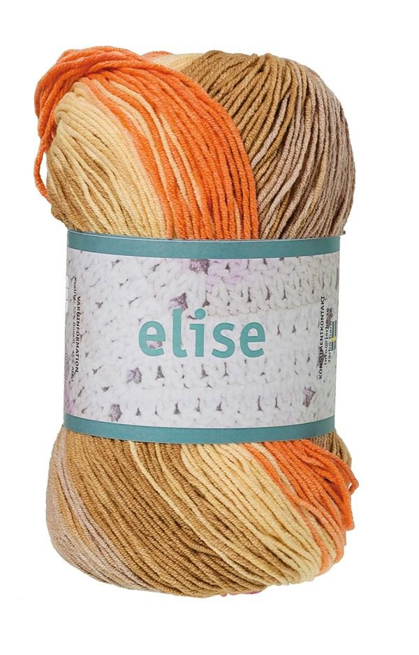 Elise Garn Bomullsmix 100g Orange/Ockra/Beige Batik (69010)