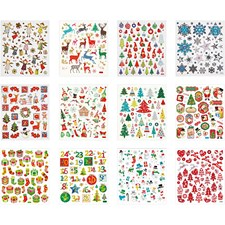 Sticker Book, ark 15x16,5 cm, ca. 584 stk., jul, 12ass. ark