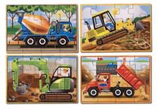 Työajoneuvot, 4 palapeliä laatikossa, Melissa & Doug