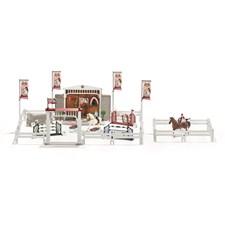 Stor hästtävling med ryttare och hästar, Schleich