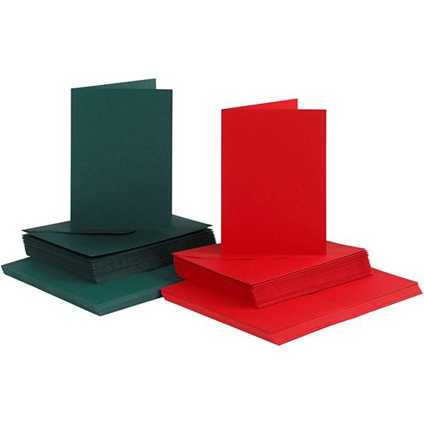 Kort og konvolutter, kort str. 10,5x15 cm, konvolutt str. 11,5x16,5 cm, grønn, rød, 50sett