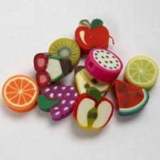 Leirperler, dia. 10 mm, hullstr. 1,5 mm, frukt, 200ass.