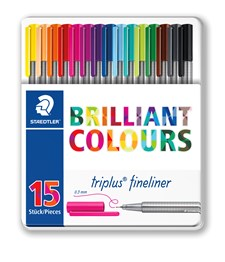 Triplus® fineliner, 15-pack, Metallboks, 0,3 mm fiberspiss