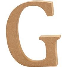 Bokstav, G, H: 13 cm, tykkelse 2 cm, MDF, 1stk.