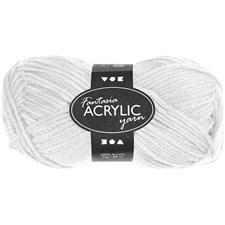 Fantasia Akrylgarn, L: 80 m, 50 g, hvit
