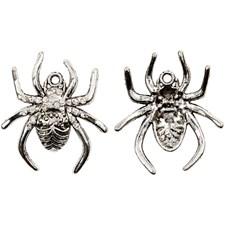 Edderkopp, L: 30 mm, hullstr. 1,5 mm, 2 stk., antikk sølv