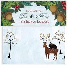 Etiketter till julklappar Festive Fox & Hare Roger la Borde 10 x 6cm 8-pack