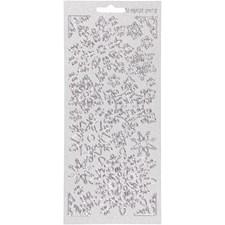 Stickers, ark 10x23 cm, sølv, snefnugg, 1ark