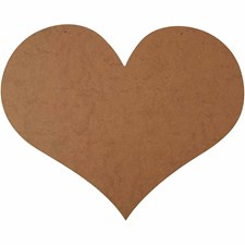 Hjerte, str. 50x40 cm, tykkelse 5 mm, MDF, 1stk.