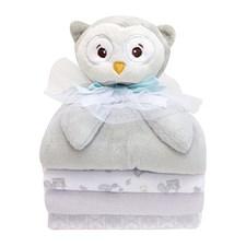 Mjukdjur Uggla + 3-pack filt (2 flannel och 1 fleece), Piccolo Bambino