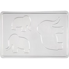 Støpeform, str. 6+8+10 cm, utv. mål 14,9x22 cm, elefant, 1stk., dybde 9 mm