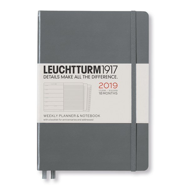 Academic Planner Weekly Notebook 2018-19 18-months A5 Anthracite