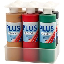 Plus Color hobbymaling, julefarger, 6x250ml