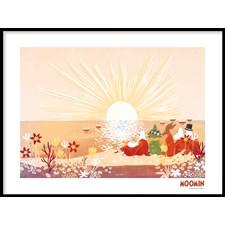 Muumit Juliste Auringonnousu Hattivattien saarella 50x70 cm