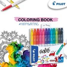 Kuitukärkikynä Frixion Color 12 p + värityskirja