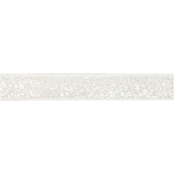 Dekorationsband, B: 10 mm, vit, 5m