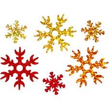 Paljetit, halk. 25+45 mm, kulta, kuparin, punainen, lumihiutale, 30g