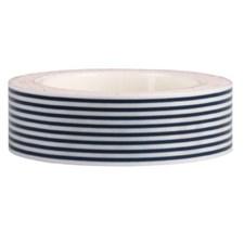 Teip Hvit / Mørkeblå Stripete, 15 mm x 10 m
