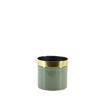 Grön Kruka Med Guldkant 10.5x10 cm  Bahne & Co - krukor