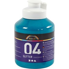 A-Color akrylmaling, turkis, 04 - glitter, 500ml