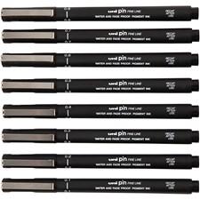Uni Pin Fine Line, spets: 0,1-0,8 mm, 8 mixade, svart