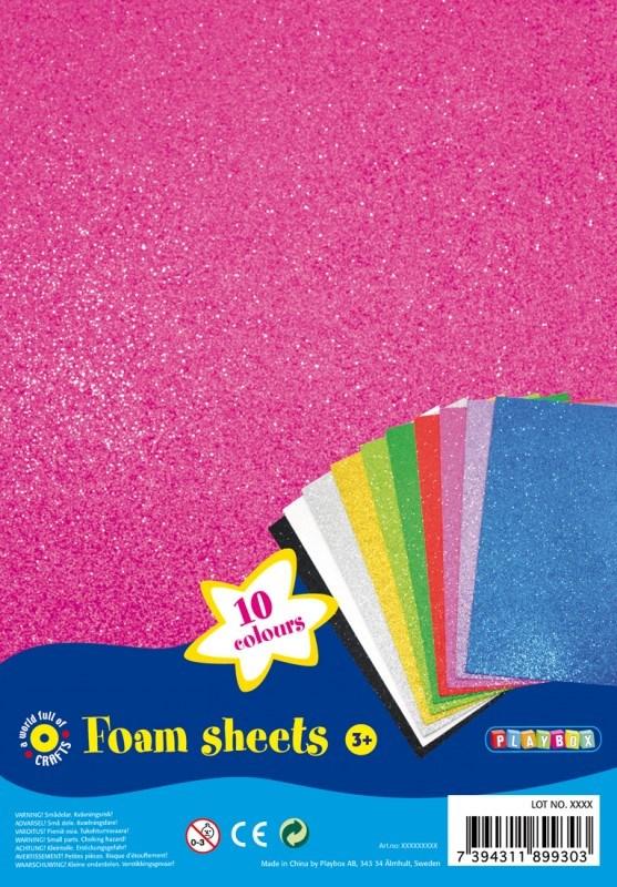 Glitterpapir av Mosegummi 10stk