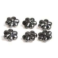 Blomsterperle, str. 11x6 mm, hullstr. 1,8 mm, 20 stk., sølv