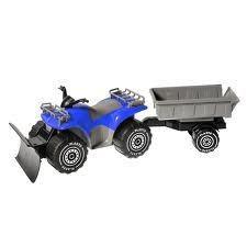 Fyrhjuling med släp + Plog, Blå, Plasto