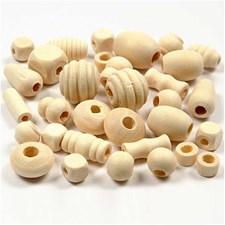 Puuhelmet, koko 5-28 mm, aukon koko 2,5-3 mm, japaninkirsikka, 175 g, 400ml, n. 330 kpl