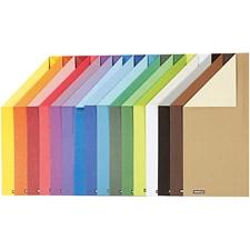 Färgad kartong, A4 210x297 mm,  250 g, Enfärgat, 16mix. ark