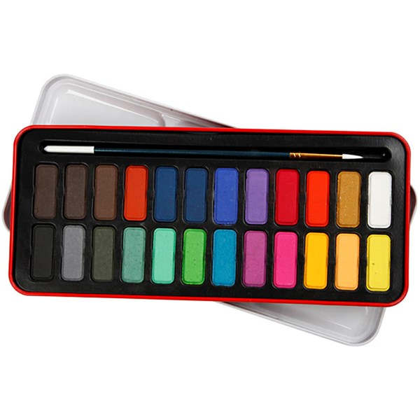 Akvarellfärg med Ask och Pensel 24 Färger