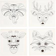 Malelerret med print, str. 20x20 cm, dybde 1,5 cm, dyr, 4stk., 280 g